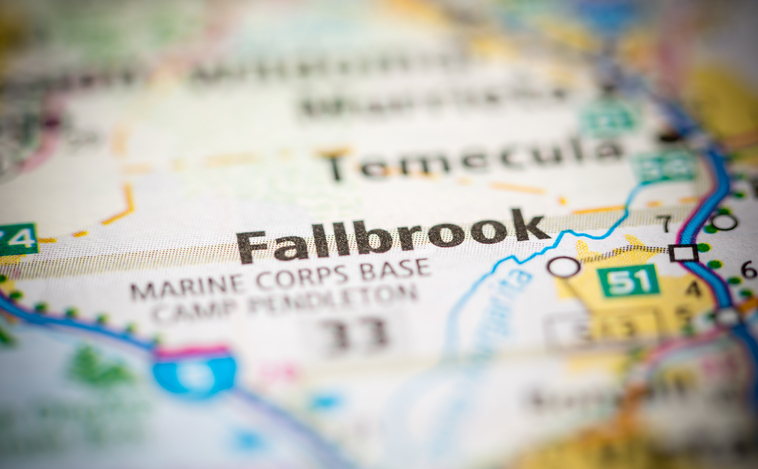 Map showing Fallbrook